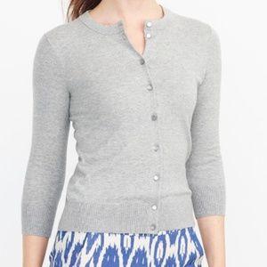 J.Crew Clare 3/4 Sleeve White Cardigan Sweater L